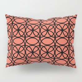 Pantone Living Coral and Black Rings, Circle Heaven 2, Overlapping Ring Design Pillow Sham