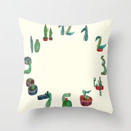 Clock Cactus Throw Pillow