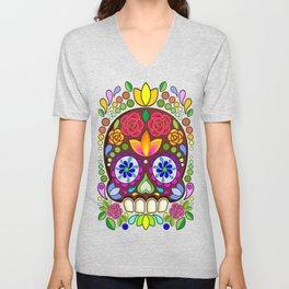 Sugar Skull Floral Naif Art Mexican Calaveras Unisex V-Neck