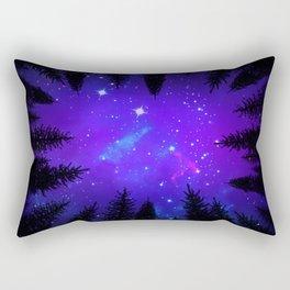 Magical Forest Galaxy Night Sky Rectangular Pillow
