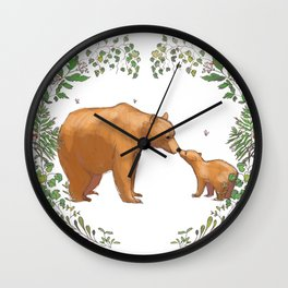 Bears in Forest Wreath Wall Clock