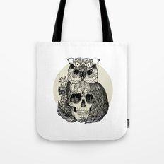 OWL + SKULL + FLOWERS Tote Bag