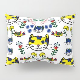 Folk Love Cat Pillow Sham