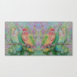 Lovebirds family Pastel colorful parrots Tropical jungle Wildlife birds painting Canvas Print