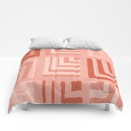 Painted Color Block Squares in Peach Comforters