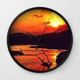 African River Sunset Leopard Wall Clock