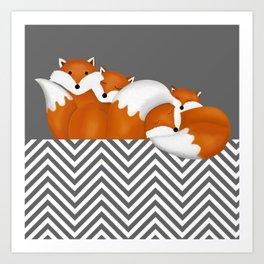sleeping foxes 2 Art Print