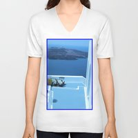 greek V-neck T-shirts featuring Greek Holiday by Brian Raggatt