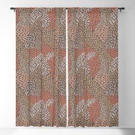Abstract Brush Strokes, Coral, Brown, Taupe Blackout Curtain
