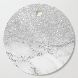 Modern faux grey silver glitter ombre white marble Cutting Board