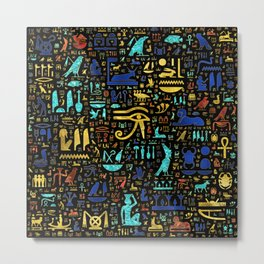 Colorful  Ancient Egyptian hieroglyphic pattern Metal Print