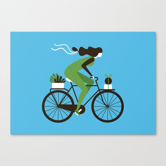 Woman on a Bicycle Canvas Print