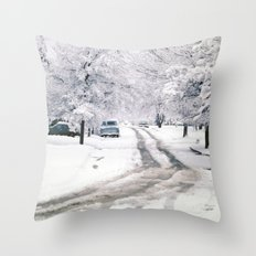 Winter on Beechwood Lane Throw Pillow