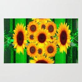 SPRING GREEN EMERALDS & YELLOW FLOWERS  ART Rug