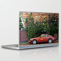 porsche Laptop & iPad Skins featuring Red Porsche by Lost River Photography
