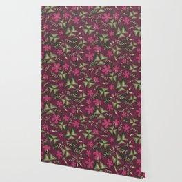 Shamrock Floral Layered Pattern / Purple Wallpaper
