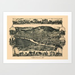 Map Of Corning 1882 Art Print
