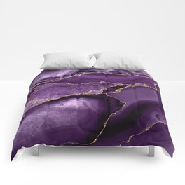 Glamour Purple Bohemian Watercolor Marble With Glitter Veins Comforters