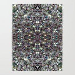 Sparkly colourful silver mosaic mandala Poster