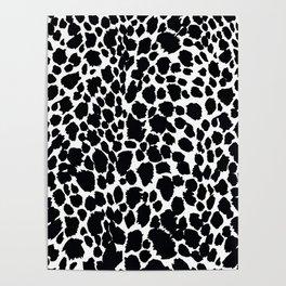 Animal Print Cheetah Black and White Pattern #4 Poster