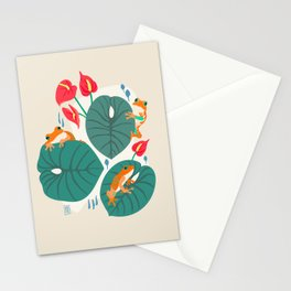 Tropical Frogs in the Jungle - Cream Stationery Cards