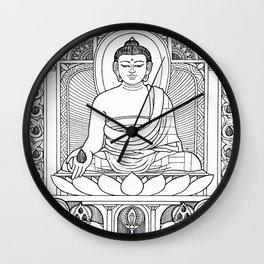 Buddha 02 Black & White Wall Clock