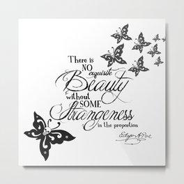 'Strange Skullerflies' -  Quotes - Edgar Allan Poe Metal Print
