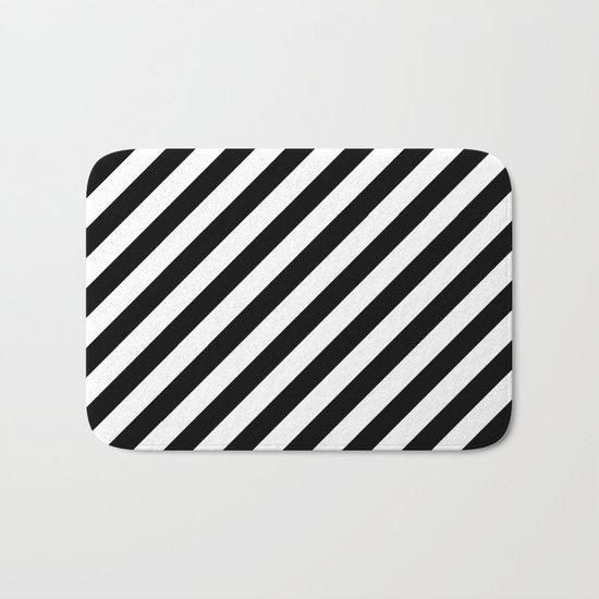Diagonal Stripes (Black/White) Bath Mat