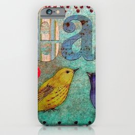 Songbirds, Peace and Love motif portrait,  Varied Bunting and Yellow Tanager iPhone Case
