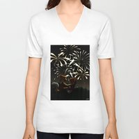 fireworks V-neck T-shirts featuring Fireworks! by Pencil Box Illustration