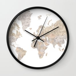 """World map in gray and brown watercolor """"Abey"""" Wall Clock"""