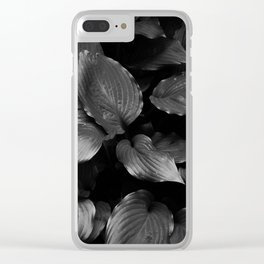 Foliage Black and White Clear iPhone Case