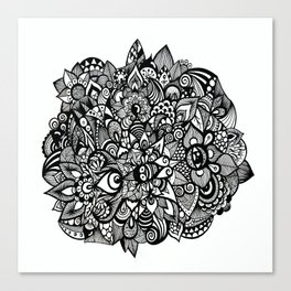 Floral Flowers Black and White Canvas Print