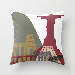 Rio de Janeiro skyline poster Throw Pillow