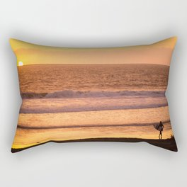 Surfer watching sunset in Southern California Rectangular Pillow