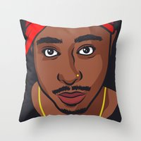tupac Throw Pillows featuring Tupac by Michael Walchalk