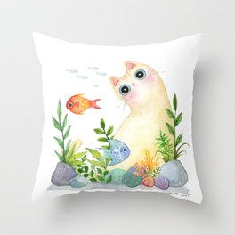 The Aquarium Cat Throw Pillow
