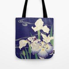 Irises byTsukioka Kôgyo Japanese Woodcut Tote Bag