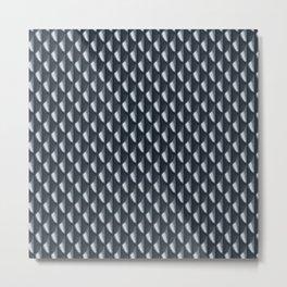 Dragon Scales Pattern - Silver Black Metal Print