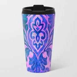 Blue Damask Pattern Travel Mug