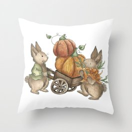 Autumn Rabbit Beatrix Potter Throw Pillow