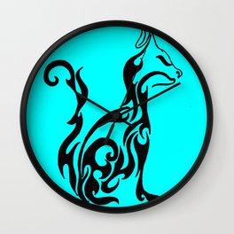 Cat blue Wall Clock