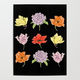 9 flowers (dark) Poster