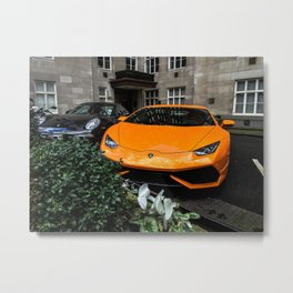 Orange Lamborghini and Black Porsche Metal Print