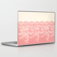 aelwen Laptop & iPad Skins featuring Lace #CoralPink by Armine Nersisian