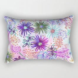 Eden Floral Multi White Rectangular Pillow