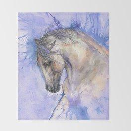 Horse on purple background Throw Blanket