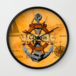 Captain Anchor And Ship Helm Wall Clock