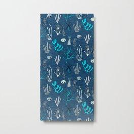 Sea Coral Classic Blue Metal Print
