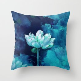 Moonlight Water Lily Throw Pillow